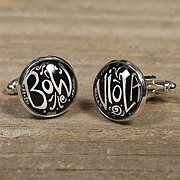 viola joke cufflinks - black and white